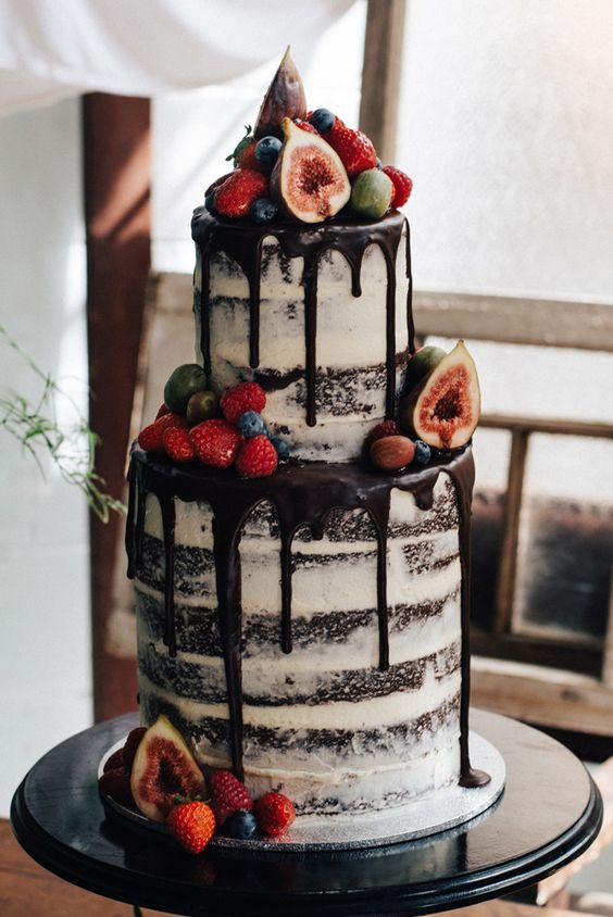 Naked Chocolate Wedding Cake with fresh Fruit Berry