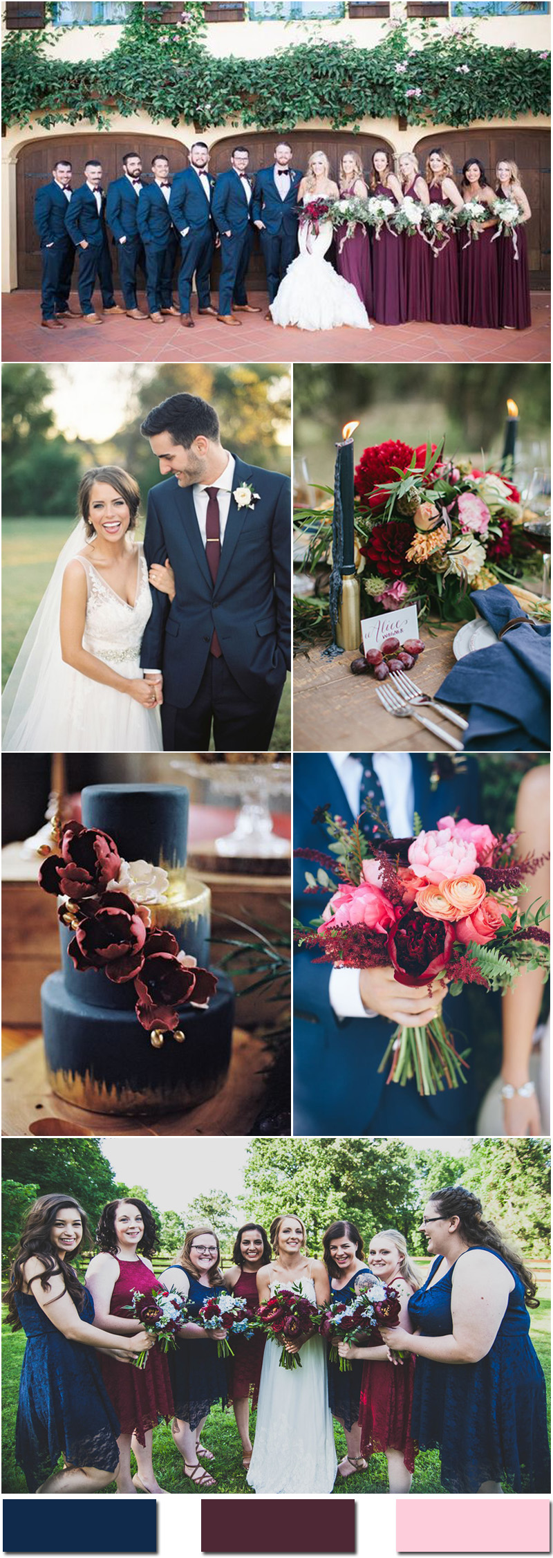Navy Blue and Burgundy Wedding Color Ideas