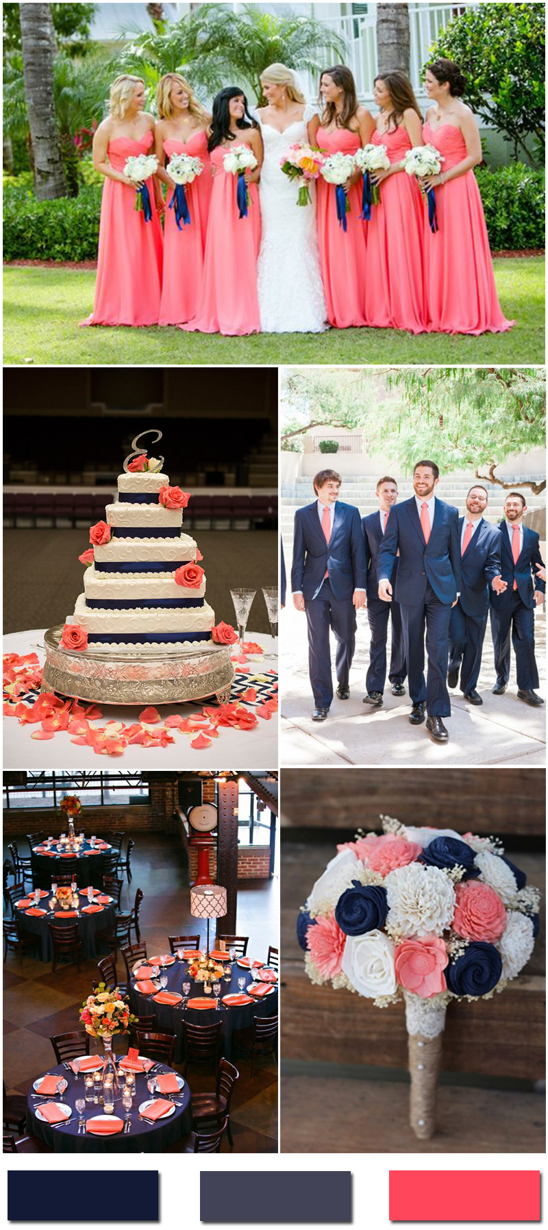 Navy Blue and Coral Wedding Color Ideas
