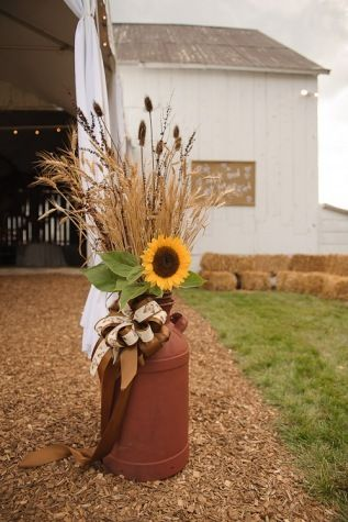 Outdoor Fall Decorating with Sunflowers