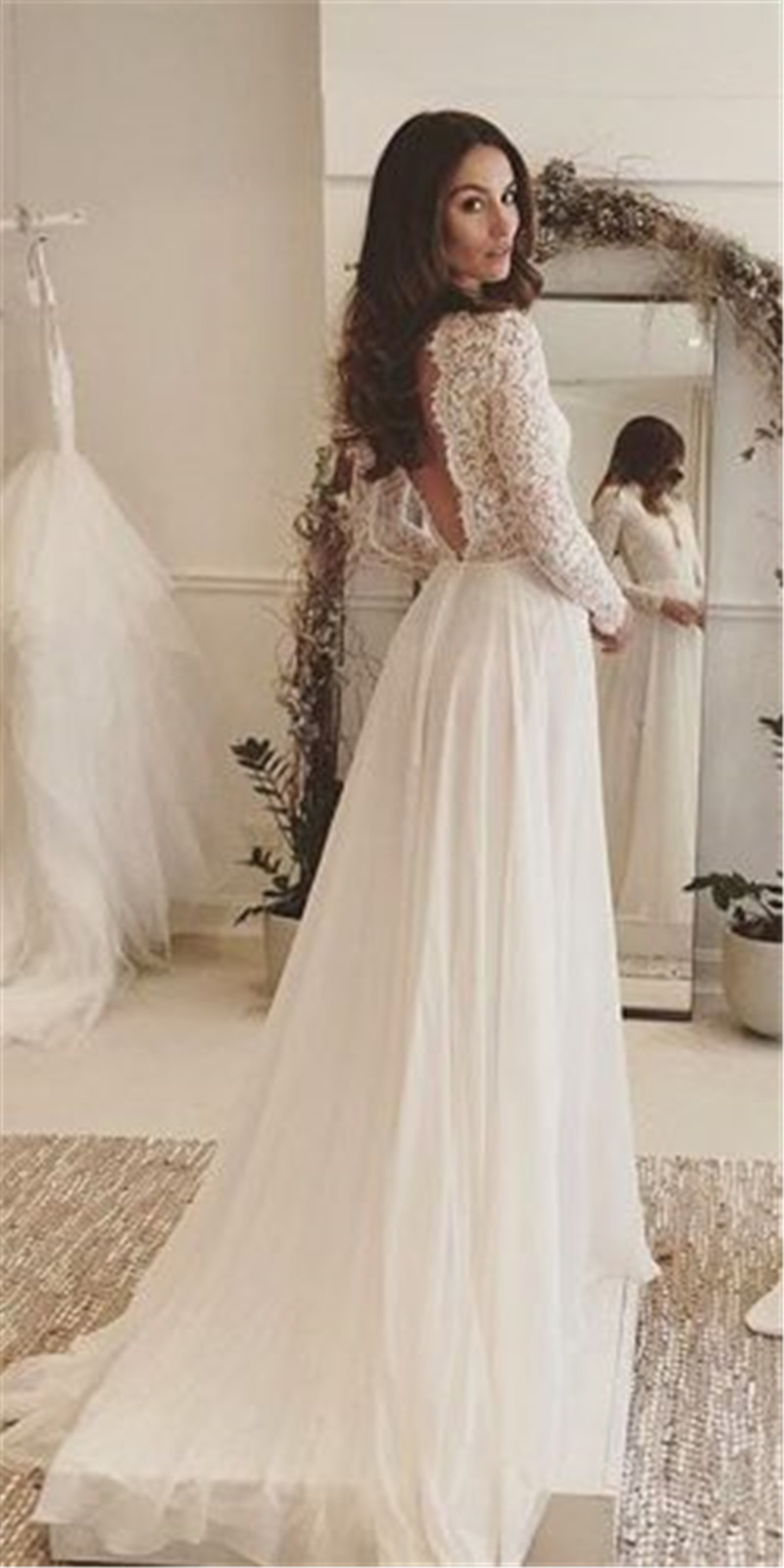 Rustic Long Sleeves Wedding Dresses for BRIDAL