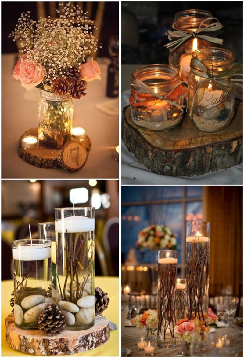 Rustic mason jar wedding centerpiece decoration ideas