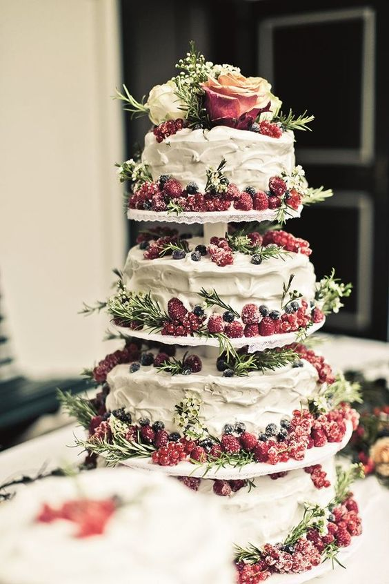 Tiered cake stand with berries for a perfect Rustic wedding