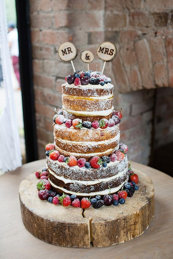 Wedding Cake Sponge Fruit Layers Log Pretty Natural Floral Barn Wedding by Johastingsphotography