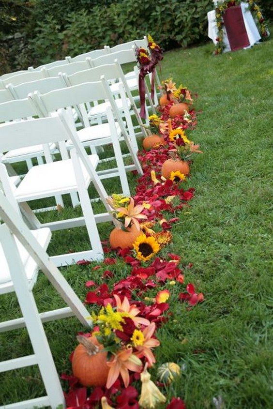 fall pumpkin wedding aisle decor