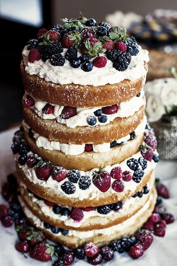mixed berry naked cake is full of rustic charm