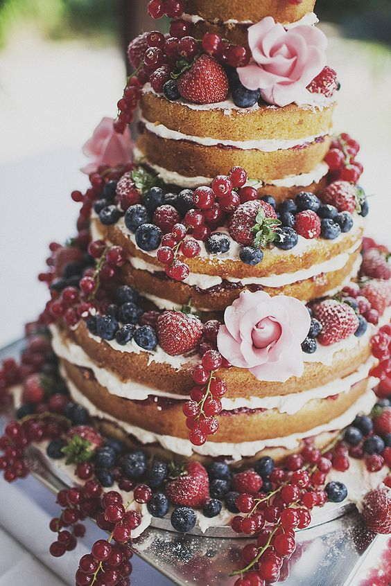 naked cake with berries galore by Anna Hardy Photography