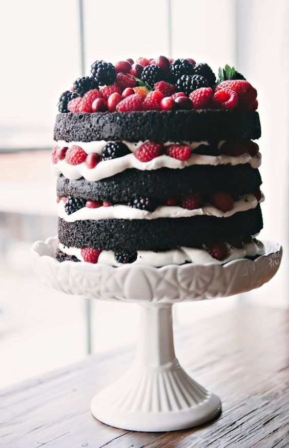 naked chocolate cake with fruits photo by Nicole Berrett, cake by Cakewalk Bakeshop