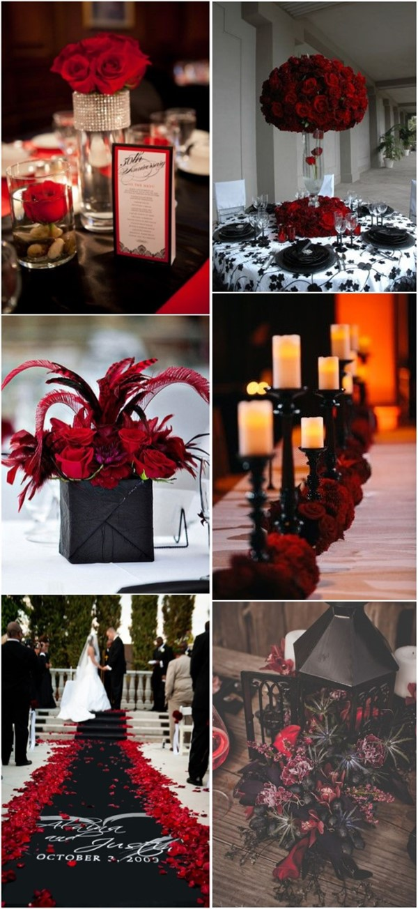 Black and Red Wedding Decoration and Centerpieces Ideas