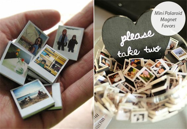 DIY Mini Polaroid Magnet Wedding Favors for Guests