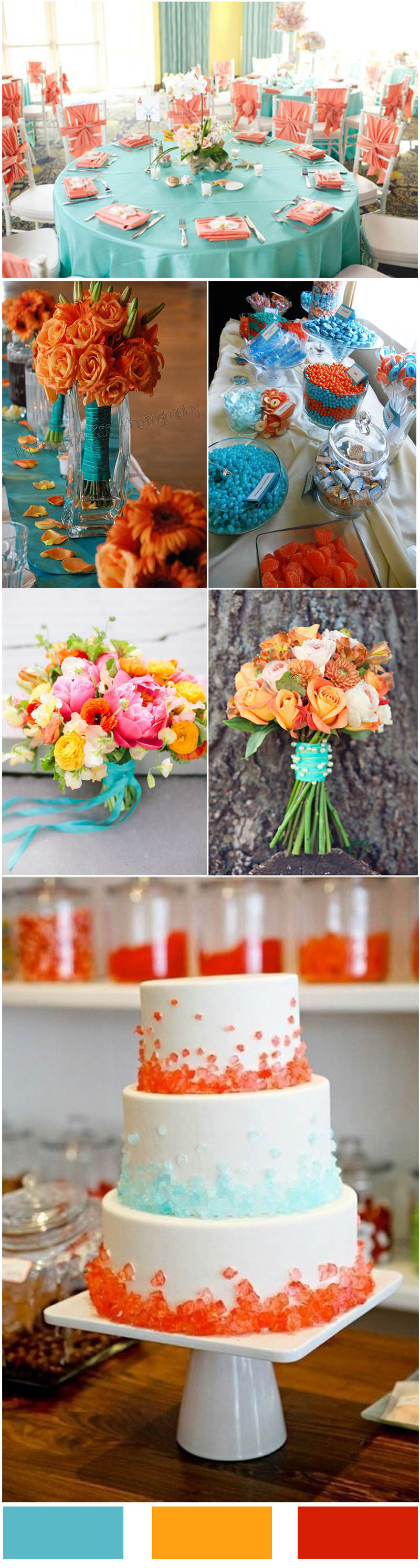 Tiffany Blue and Coral Orange Wedding Color Ideas for your wedding