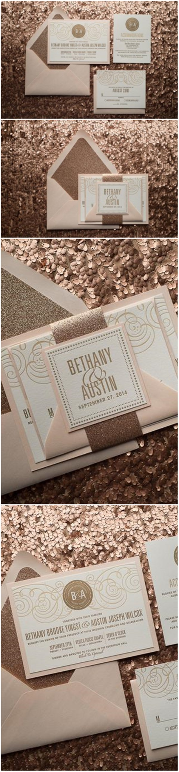 Champagne Wedding Invitation Fancy Glitter Package