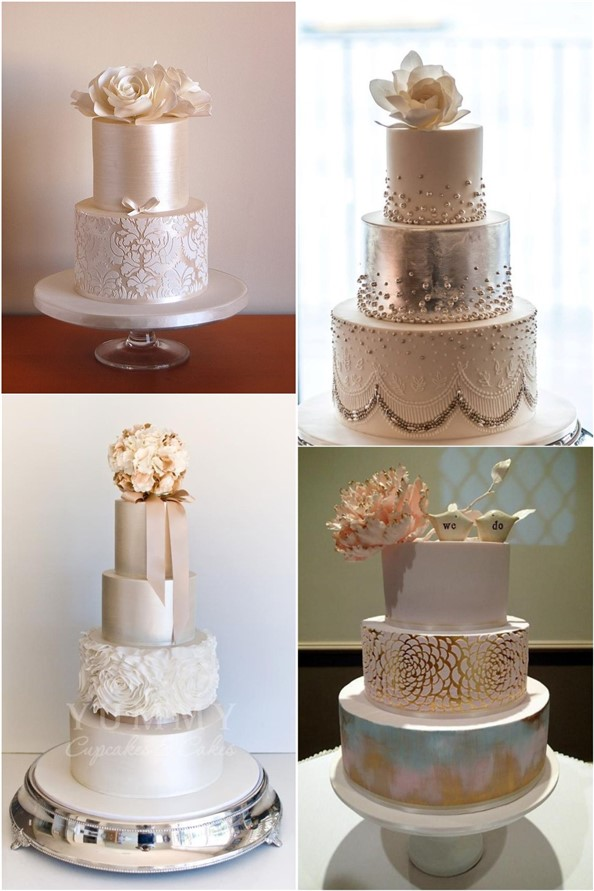 Pink Gold and Champagne Wedding Cakes