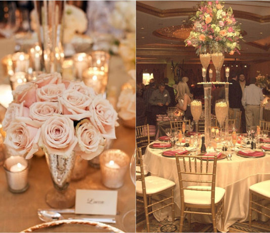 champagne wedding decorations and centerpieces