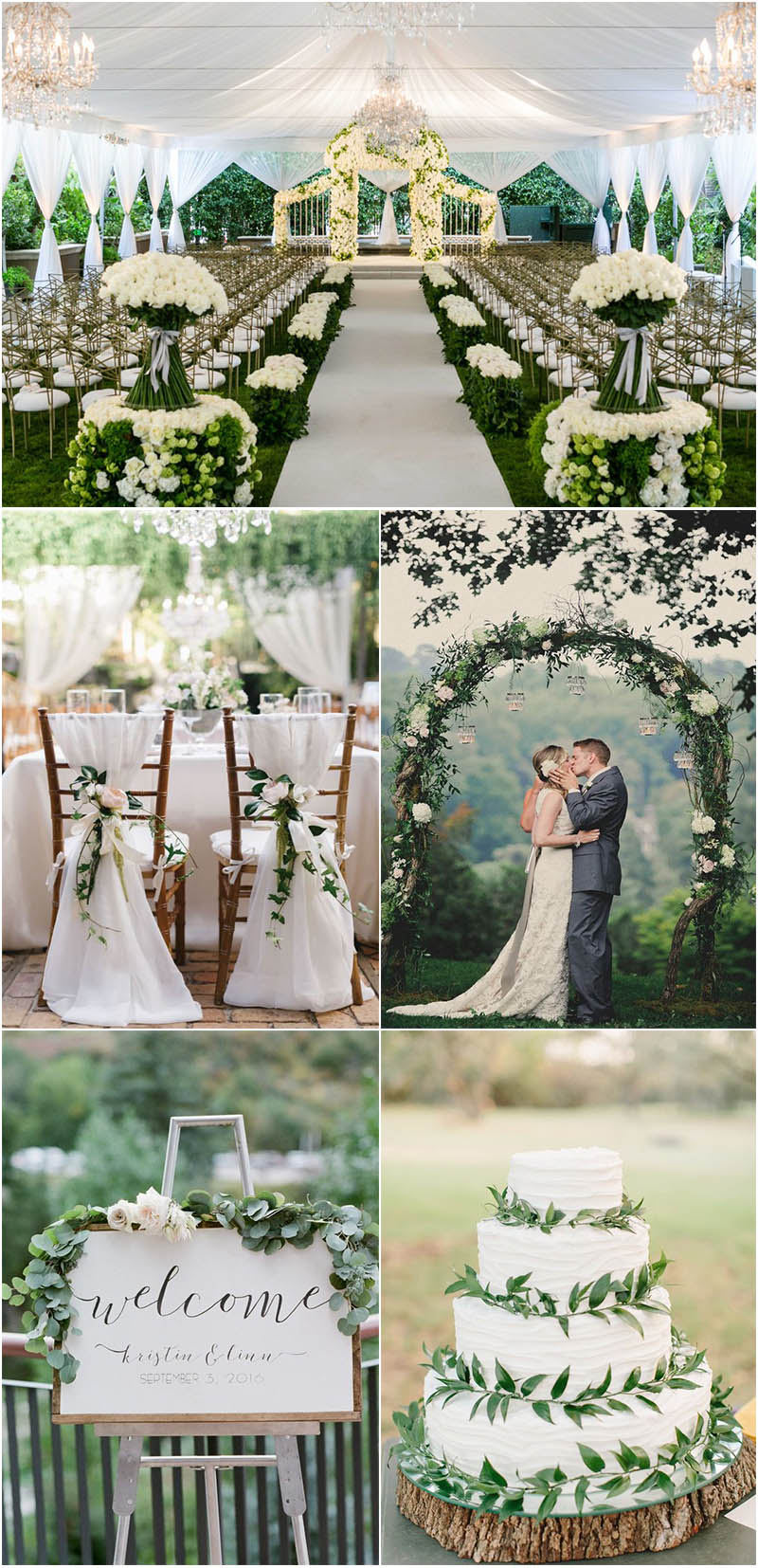 organic and classic white and green wedding inspiration