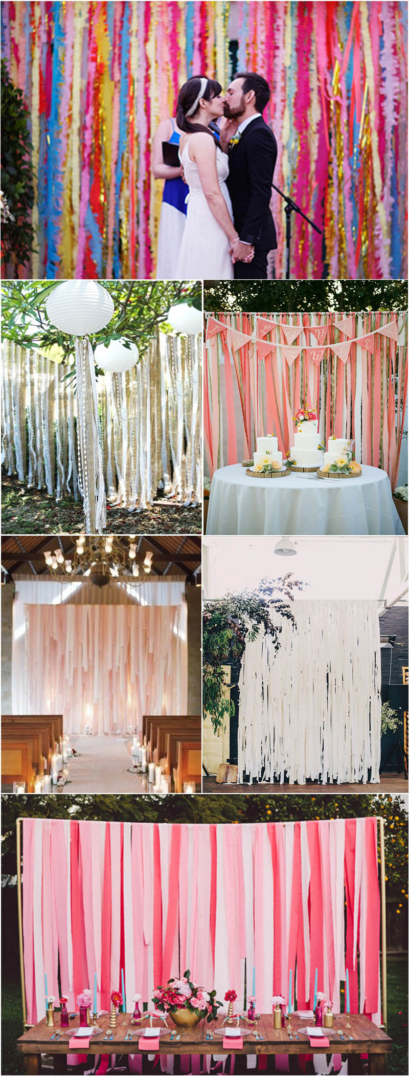 sweet diy streamer wedding backdrop