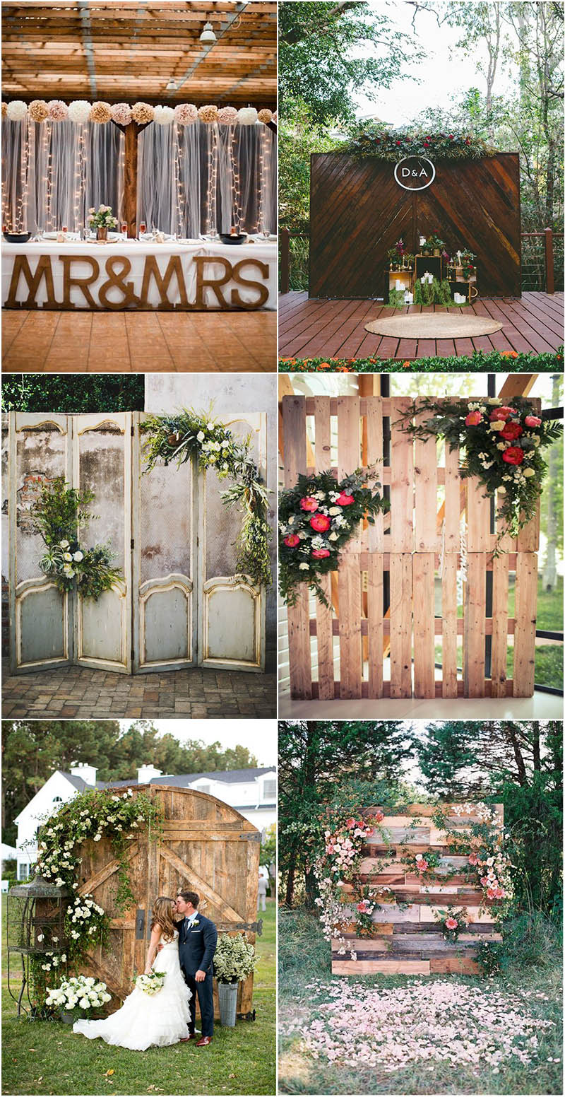 terrific outdoor rustic wedding backdrop