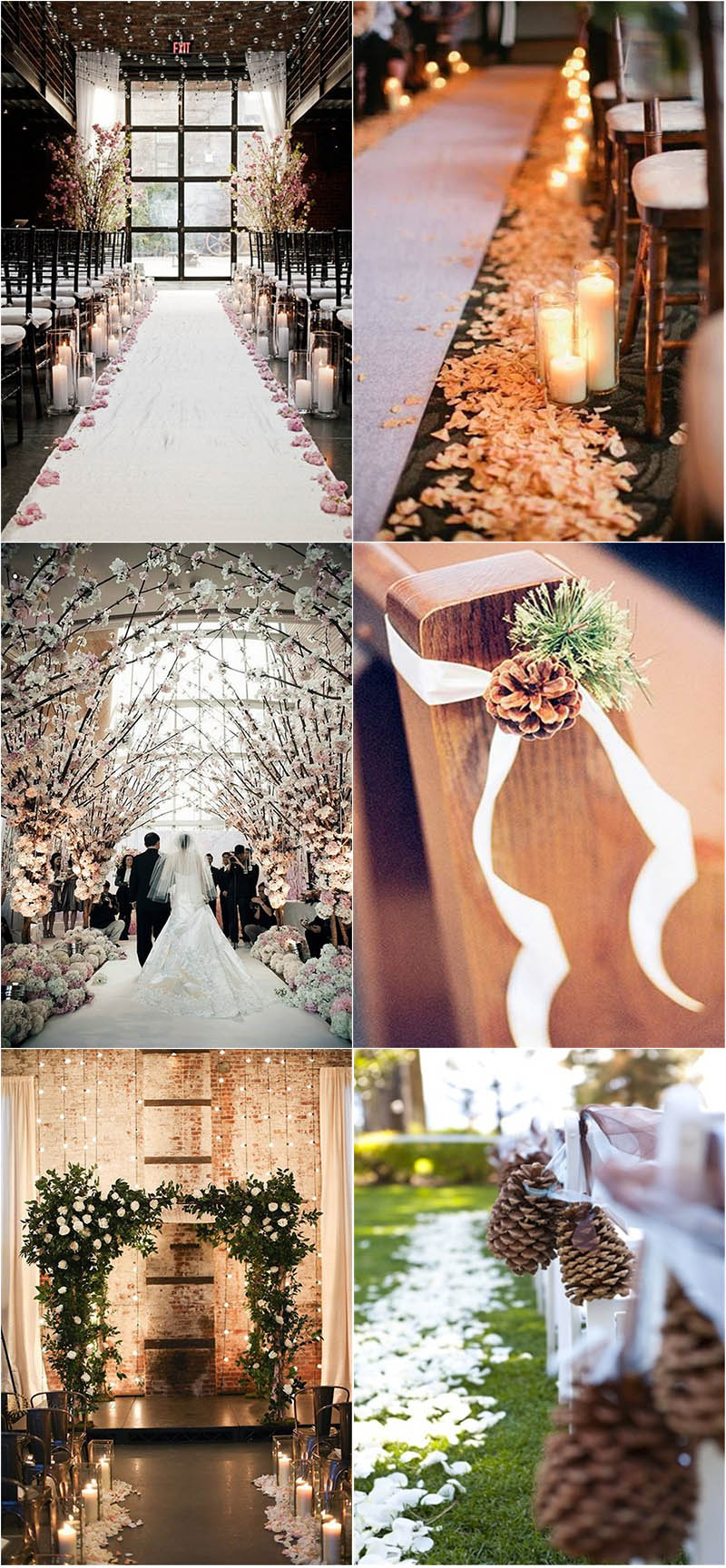 charming winter wedding aisle decor