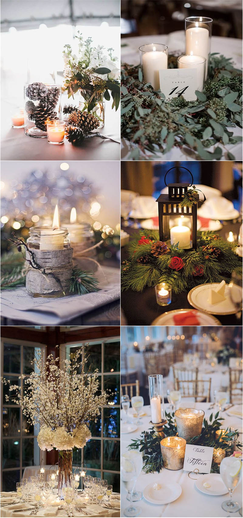 heart-melting winter wedding centerpieces