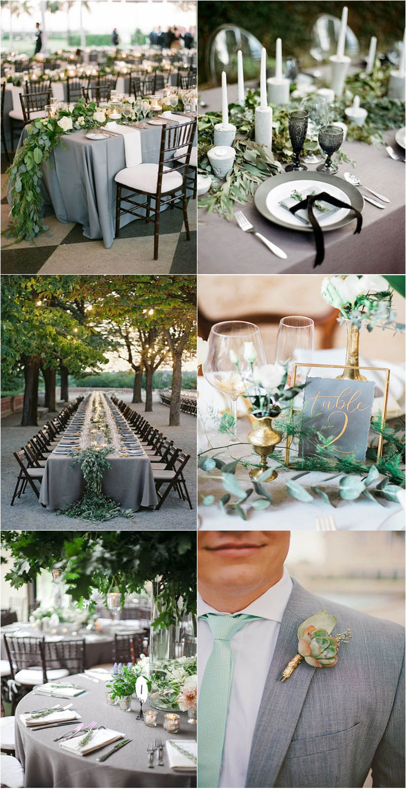 refreshing and eye-catching green and grey wedding ideas
