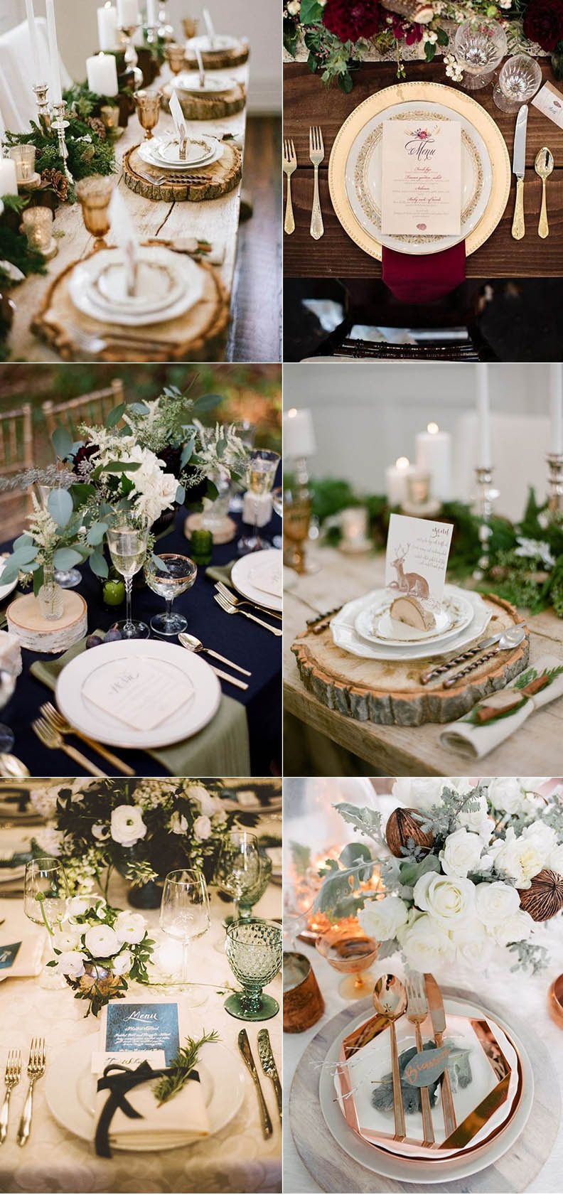 stunning winter wedding table setting idea