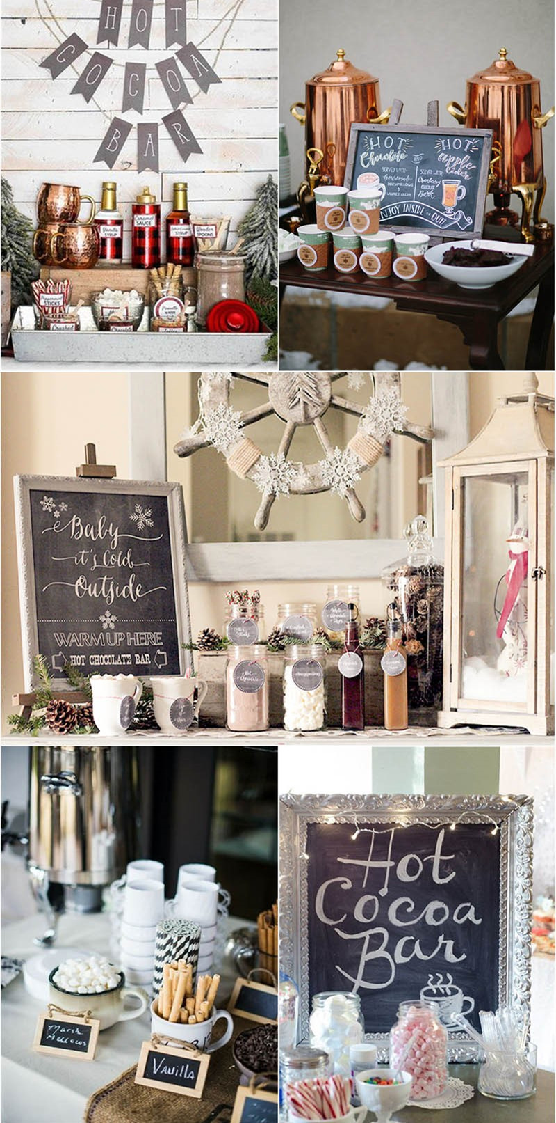 sweet hot chocolate bar for winter wedding