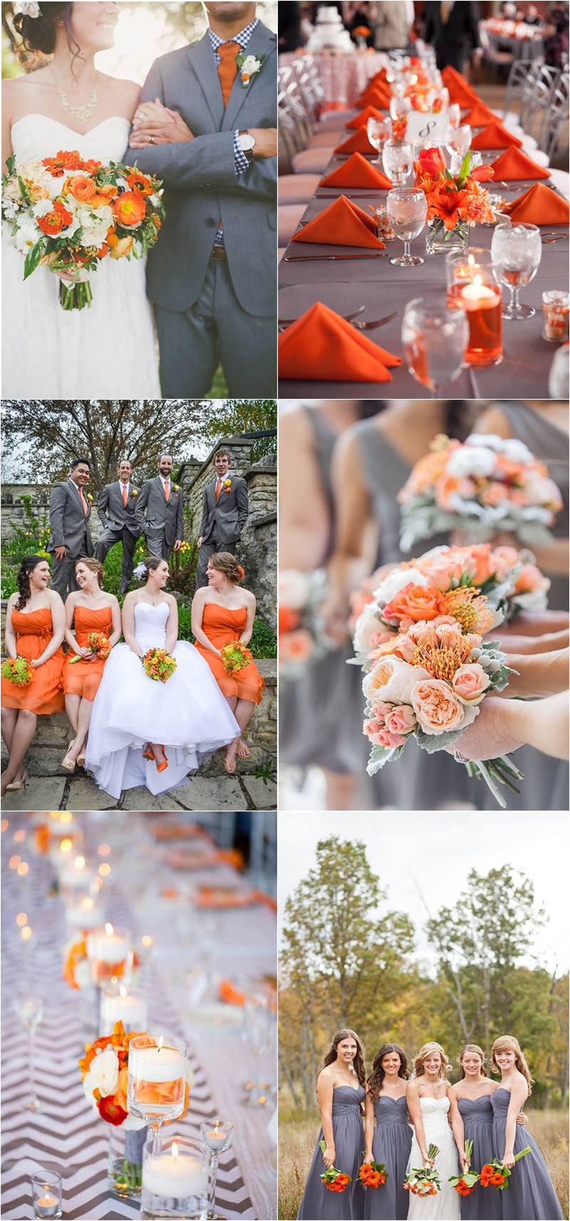 warm and bright grey and orange wedding ideas