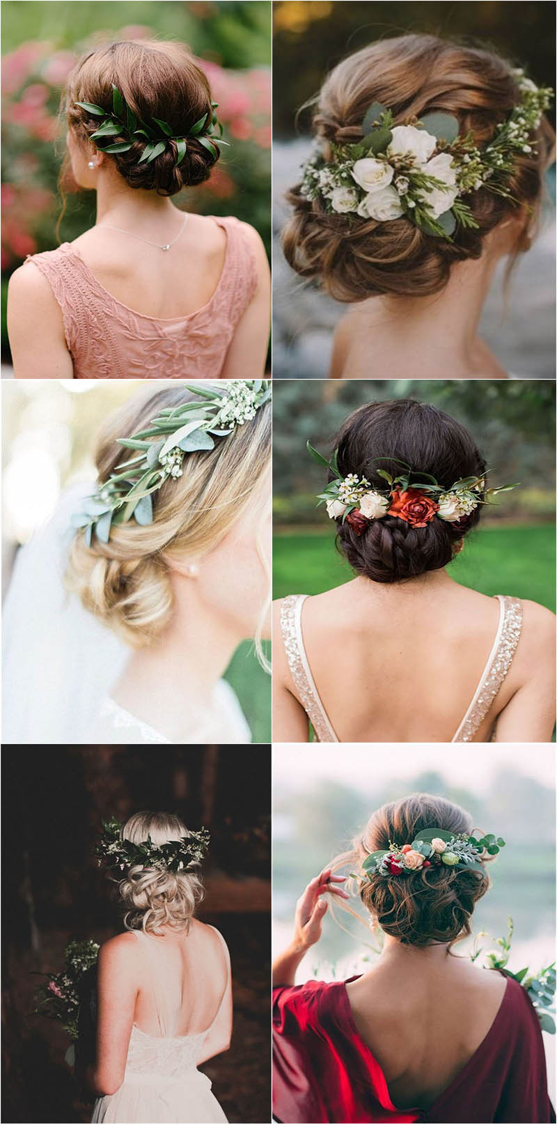 one of a kind greenery wedding hairstyle decor