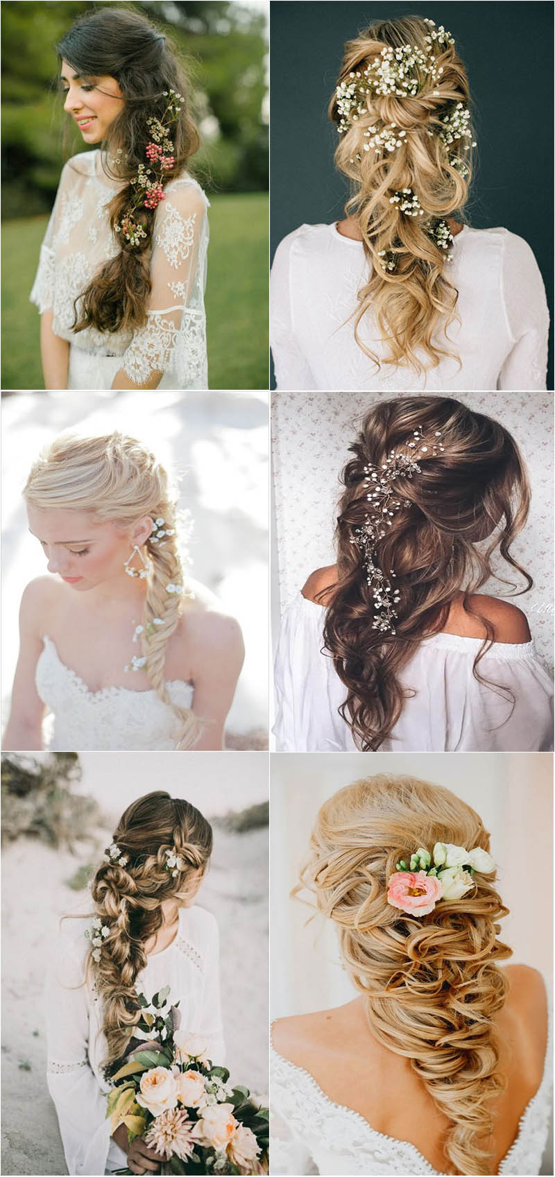 romantic and stylish loose braided wedding hairstyle