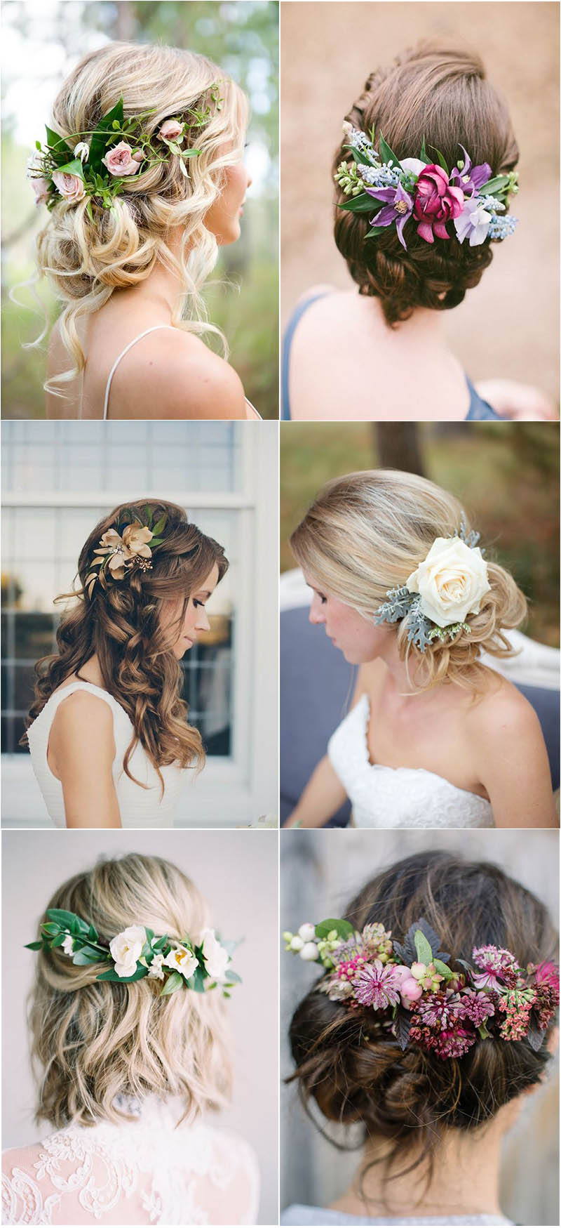 simple and stylish floral wedding hairstyle to inspire
