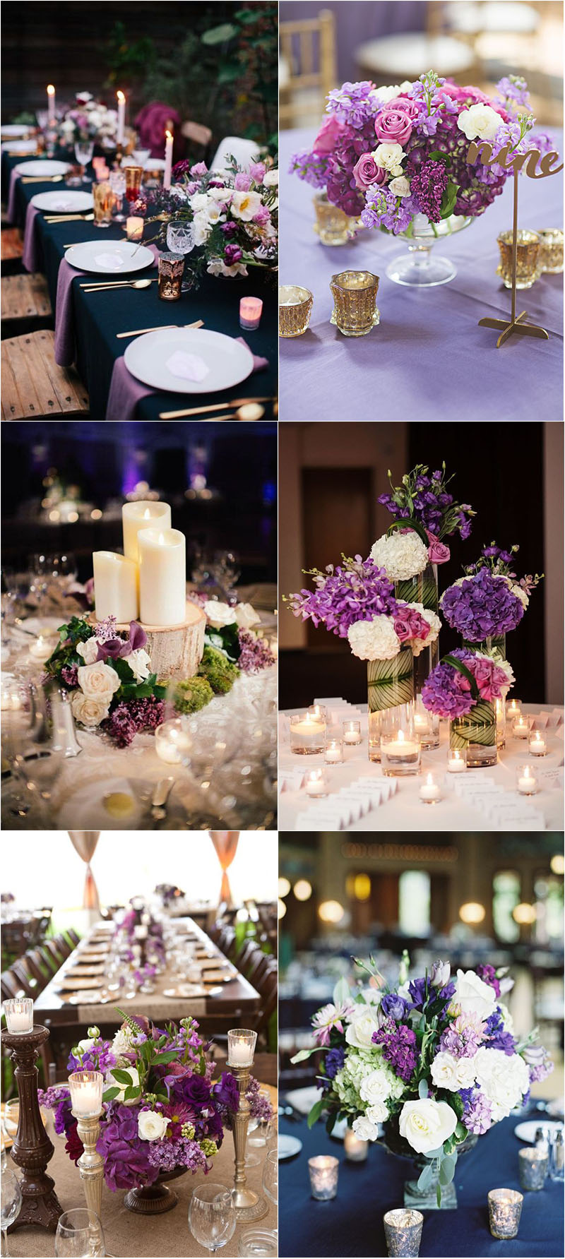 creative and sophisticated violet wedding centerpieces