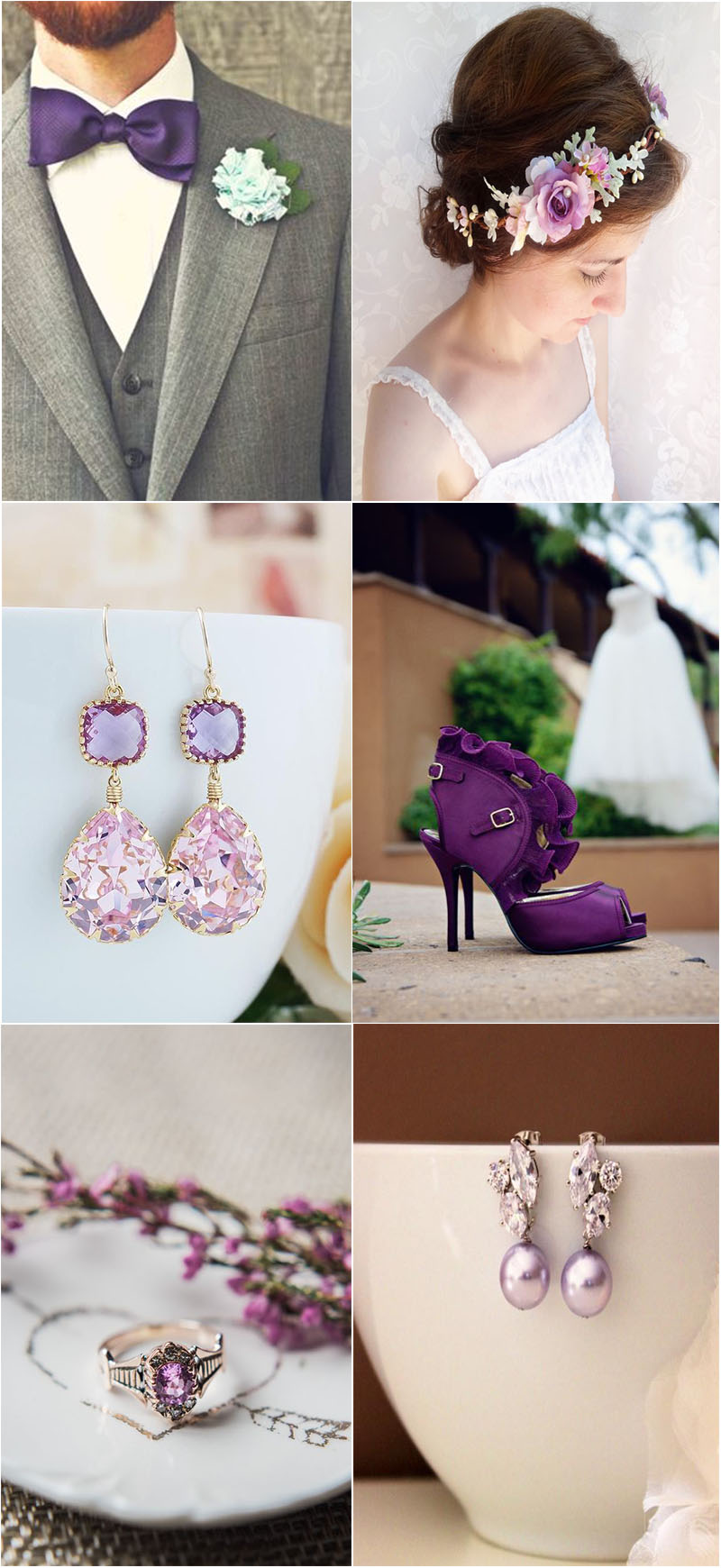 delicate violet wedding accessories to shine