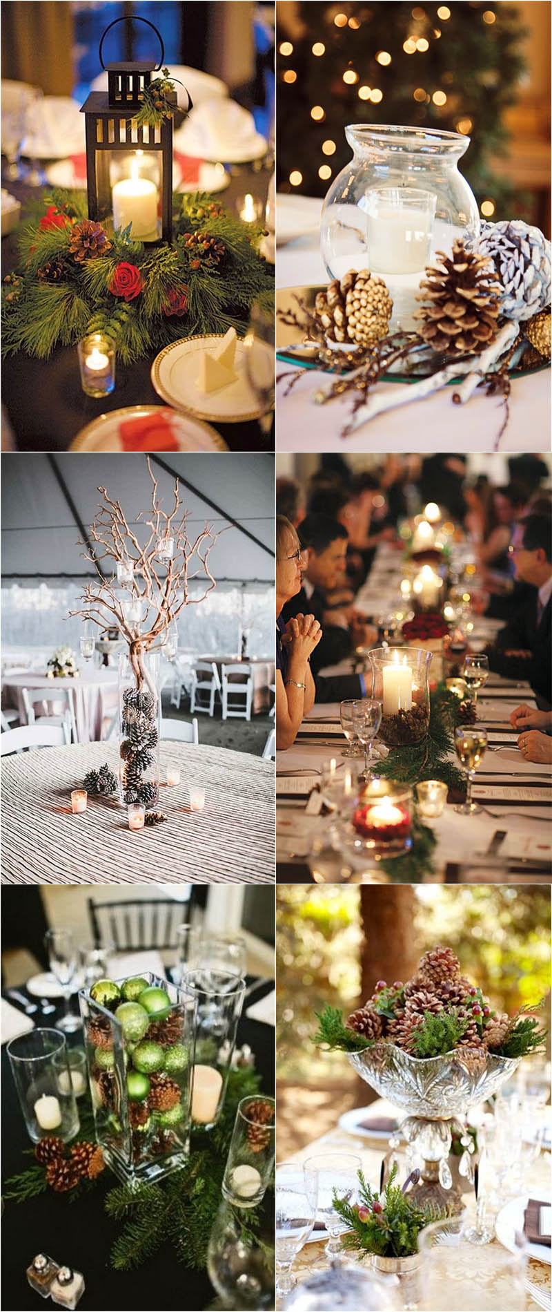 pincone centerpieces for winter weddings