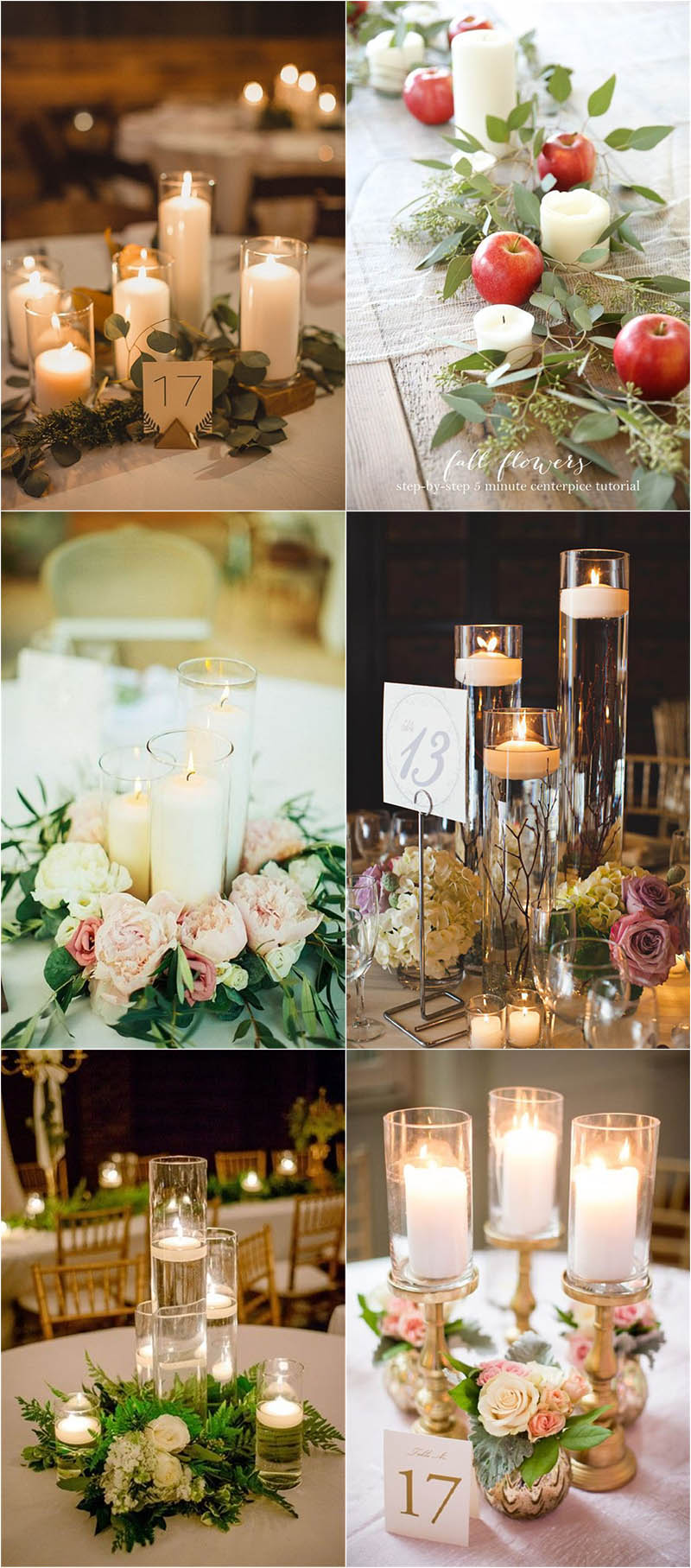 warm and romantic candle wedding centerpieces