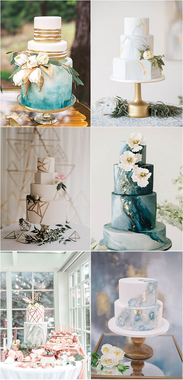 chic romantic marble wedding cake ideas