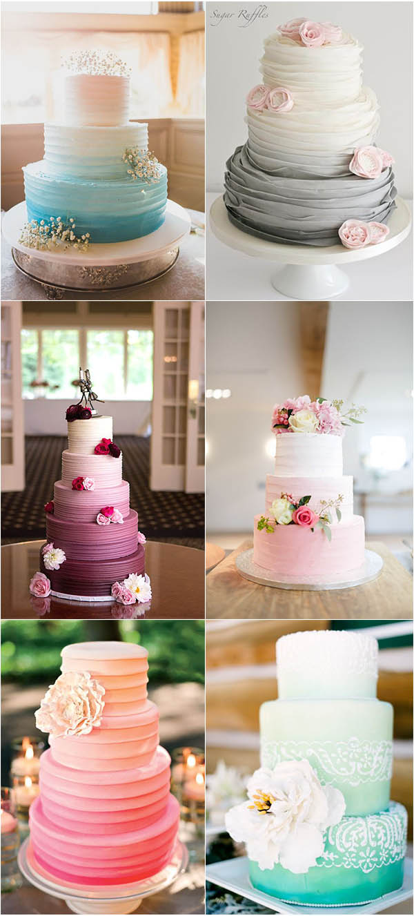 mouth-watering ombre ruffle wedding cake ideas