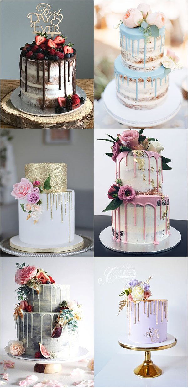trendy and eye-catching drip wedding cakes