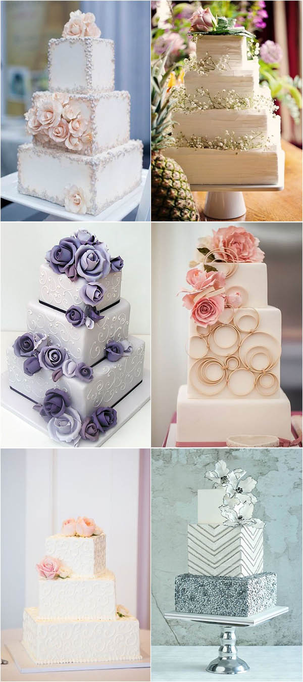 unique and adorable square wedding cake ideas