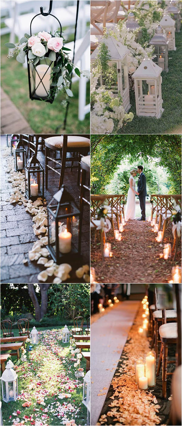 Chic And Romantic Lantern Decoration For Outdoor Wedding Aisle