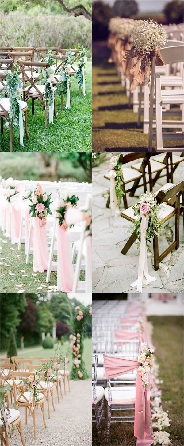 elegant satin and ribbon outdoor wedding aisle decoration ideas