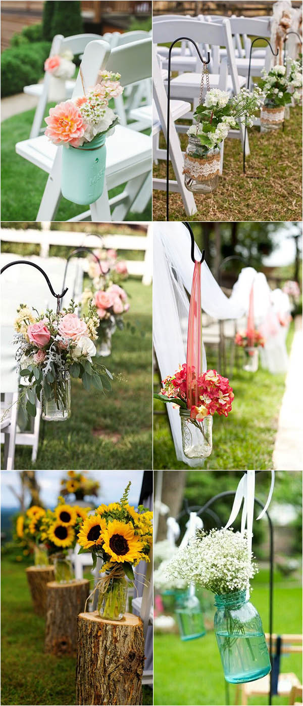 fresh and energetic mason jar wedding aisle decoration ideas