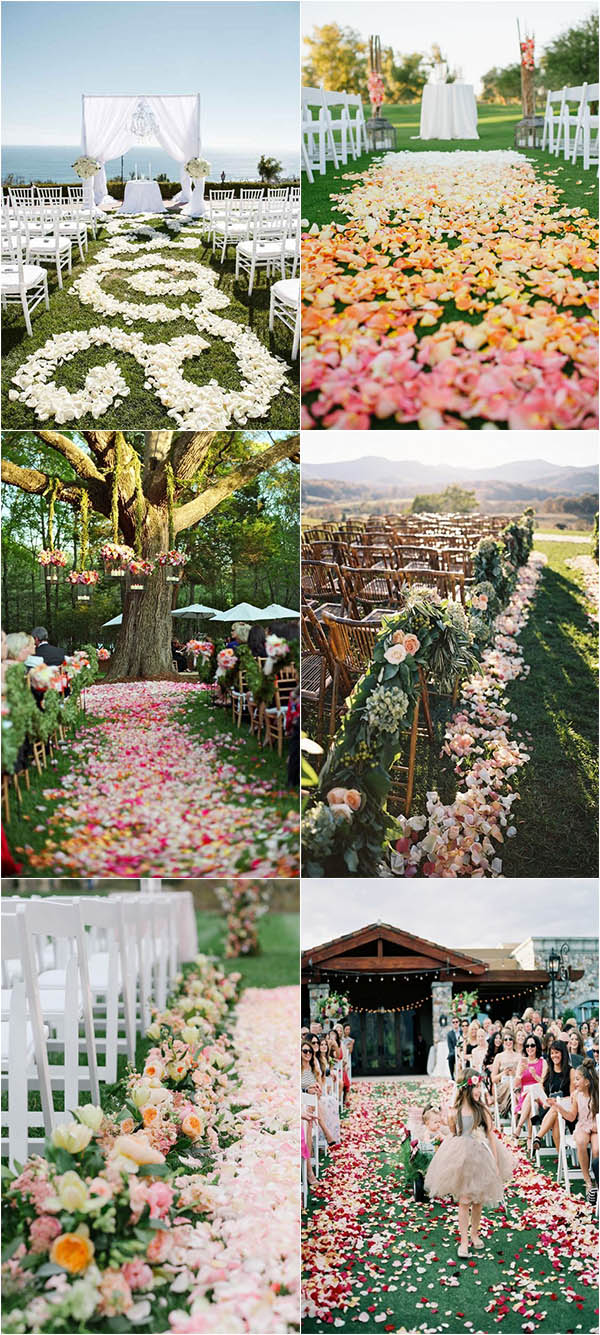heart-melting flower petal decoration for outdoor wedding aisle