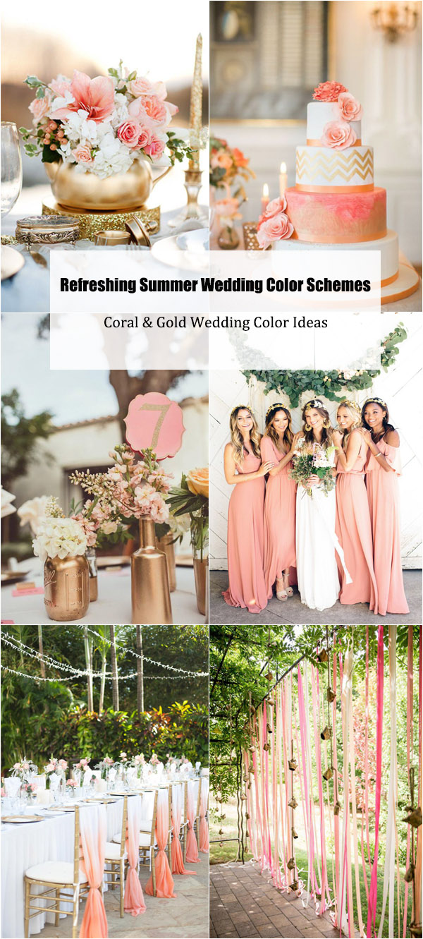Summer Wedding Color Schemes-Coral & Gold Wedding Color Ideas