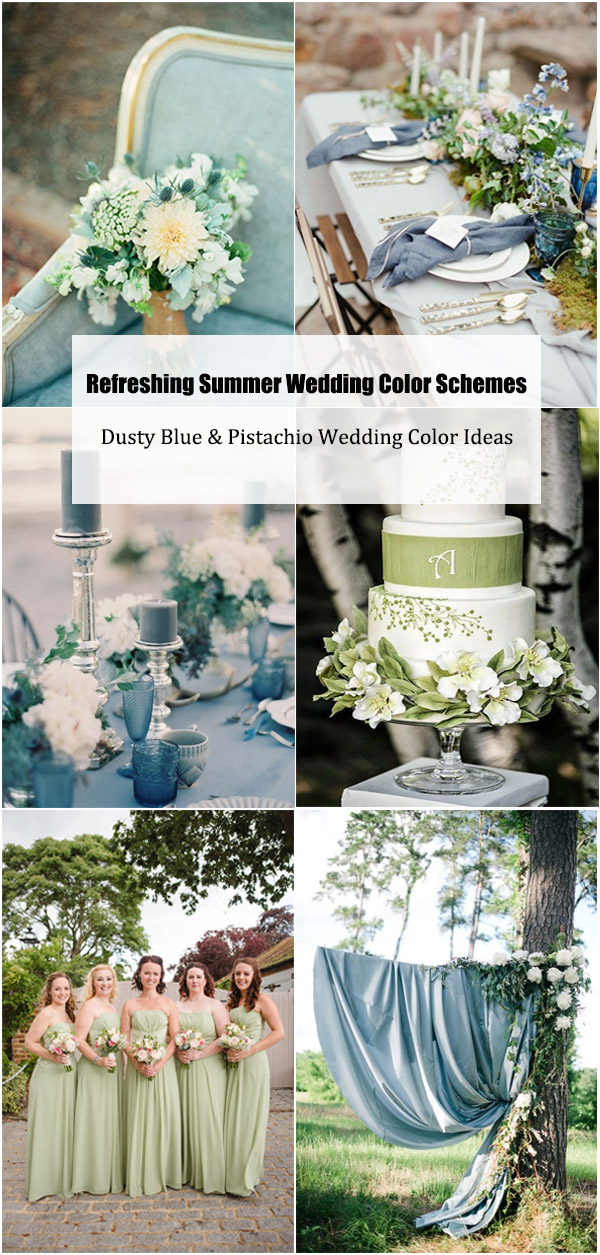 Summer Wedding Color Schemes-Dusty Blue & Pistachio Wedding Color Ideas