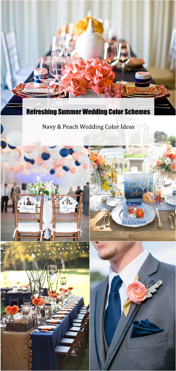 Summer Wedding Color Schemes-Navy & Peach Wedding Color Ideas