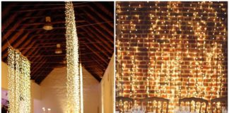 Waterfall String Light Wedding Decoration Ideas