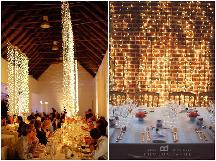 10 Waterfall String Light Wedding Decoration Ideas