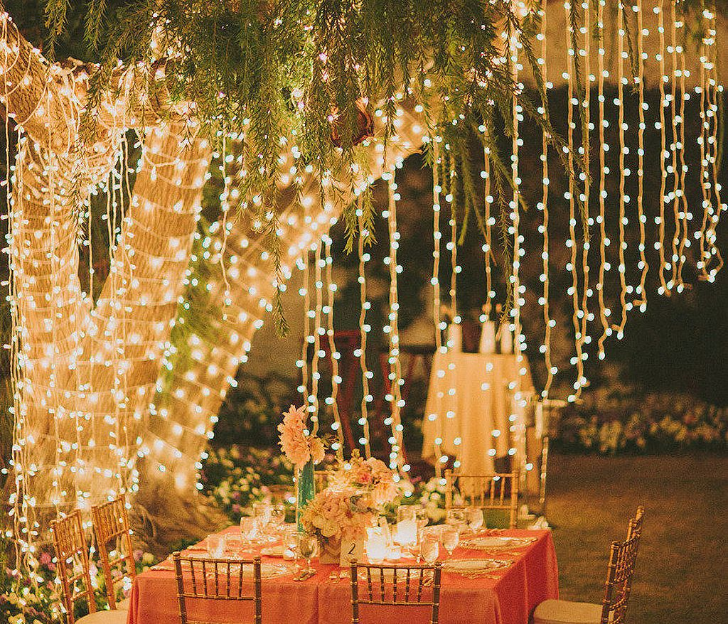 10 waterfall string light wedding decoration ideas junglespirit Gallery