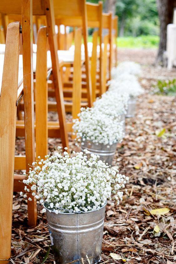 Wedding Aisle décor with baby's breath