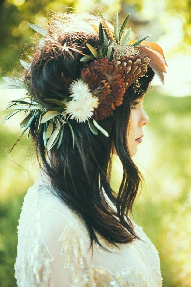 Chic and Bold Floral Crowns for Fall Weddings